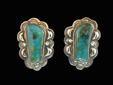 Sterling Silver & Turquoise Large Free Form Turquoise Earrings - Navajo Handmade