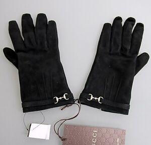 $750 NEW Authentic GUCCI Suede Gloves w/Metal Horsebit, Black sz 7.5
