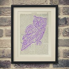 Electric Owl Bird Vintage Encyclopedia Print Old Book Page Steampunk Decor
