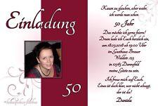 10 Einladungskarten Geburtstag Einladungen Fotokarte jedes Alter: 30 40 50 60 70