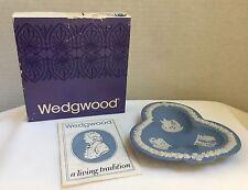 Wedgwood Blue Jasperware Club Tray Ashtray Trinket Pin Dish, Euc