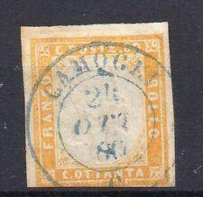 ANTICHI STATI 1860 SARDEGNA 80 C. GIALLO ARANCIO CHIARO CAMOGLI 24/10 D/5505
