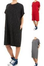 Markenlose knielange Damenkleider mit Rundhals-Ausschnitt aus Baumwolle