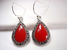 Red Coral Marcasite Earrings 925 Sterling Silver Dangle Corona Sun Jewelry