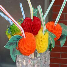 12 x Hawaiian Beach Party 3D Tropical Fruit Cocktail Drinking Straws X30 432