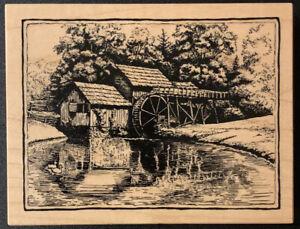 PSX K-2136 Landscape Watermill Lake Ducks Rubber Stamp