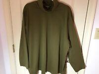 Woman's Ulla Popken plus size 28-30 olive green cotton long sleeve turtleneck