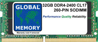 32GB (1x32GB) DDR4 2400MHz PC4-19200 260-PIN SODIMM MEMORY FOR LAPTOPS/NOTEBOOKS