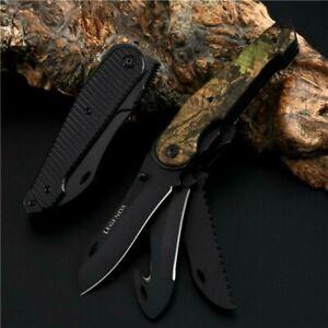 Drop Point Folding Knife Pocket Hunting Survival Tactical Aluminum Handle Black
