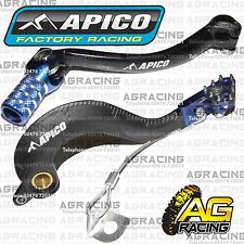 Apico Black Blue Rear Brake & Gear Pedal Lever For Yamaha YZF 250 2006-2009 Moto