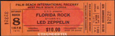 1 Led Zeppelin Vintage Unused Full Concert Ticket 1975 West Palm Bch. Laminated