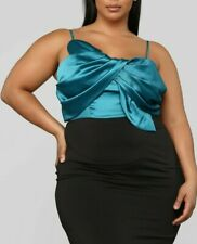 Satin Stretchy Zipper Back Bow Front Cropped Teal Green Sexy Top Plus Size 1X