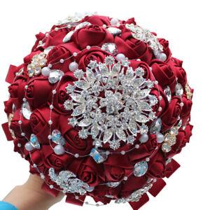 Burgundy Flowers Bridal Wedding Bouquet Bridesmaid Brooch Crystal Pearls 18cm