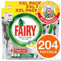 204 Pastiglie Fairy Platinum Tutto in Uno Detersivo per Lavastoviglie Mega Pack