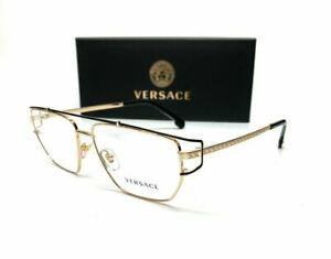 Versace VE1257 1436 Gold Demo Lens Men's Irregular Eyeglasses 55-15