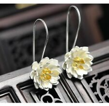 Lotus Earrings sterling silver blossom flower floral drop Thailand gift box S6