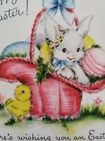 "Vtg Hallmark Easter Greeting Card Pastel Eggs Bunny Pink Basket Chick ""EGGS-TRA"""