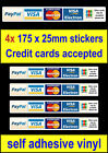 4x Credit Card Payment Stickers Paypal Visa Mastercard Minicab Shop Taxi Notice