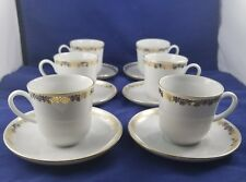 Vintage Coffee Set White With Gold Accents By Ionia Hellas 12 Piece Set
