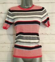 M&S COLLECTION Size 8 Striped Top Stretch Navy BLUE/WHITE/RED Ribbed VGC Casual