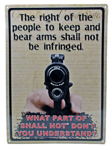 """""""THE RIGHT TO KEEP AND BEAR ARMS"""" Hunting Humor FUNNY MANCAVE Outdoor Sign 17X12"""