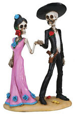 Day of The Dead Skeleton Couple Holding Hands Bride Statue 5.5H T78910