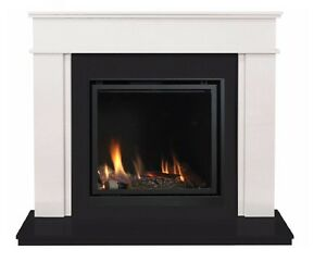 Webster Marble Fireplace Suite & Large Glass Fronted Gas Fire Full R/Control