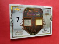 MICKEY MANTLE GAME USED JERSEY & JACK NICKLAUS SHIRT CARD #d8/15 LEAF ENSHRINED
