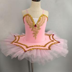 Elegant Girls Ballet Skirt Professional Kids Pancake Tutu Costumes Dance Wear