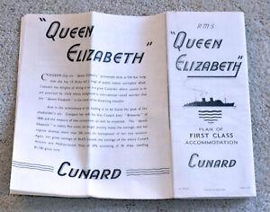 Cunard Line - RMS Queen Elizabeth - First Class Deck Plan - 1957