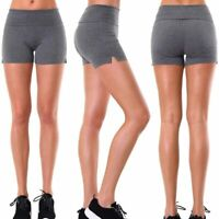 2 Workout Yoga Shorts Gym Fold Over Waist Band Lounge Sport Active Wear S M L