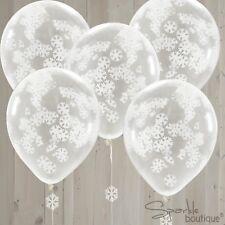 "SNOWFLAKE CONFETTI BALLOONS - 12"" Helium Quality - Christmas Party Decoration"