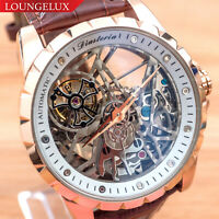 Mens Luxury Skeleton Automatic Mechanical Watch - Rose Gold White Dial Leather