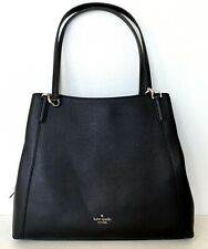 New Kate Spade Jackson Large Triple compartment Shoulder bag Leather Black