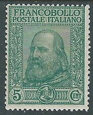 1910 REGNO GARIBALDI 5+5 CENT VERDE MH * - I1