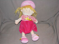 STEPHAN BABY GIRL DOLL STUFFED PLUSH TOY VELOUR CLOTH RAG PINK POLKA DOT DRESS