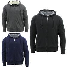 Men's Cotton Rich Hoodie Fur Lined Jacket Winter Warm Zip Up Thick Jumper