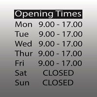 Personalised Customised Opening hours - Shop Times - Window Sign - Vinyl Decal