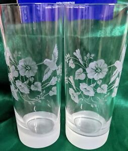 Crystal Collectable Vintage Avon French Hummingbird Longdrink Glasses