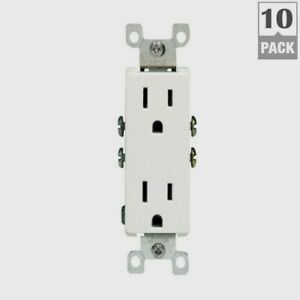 LEVITON Indoor Grounded DECORA WHITE OUTLET 15 Amp 125 Volt 10 PACK 05325-WMP