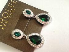 CAROLEE NEW YORK green double drop  CRYSTAL  EARRINGS JOHN LEWIS RRP £35