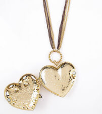 Betsey Johnson HOLLYWOOD GLAM Leopard Heart Locket Pendant Long Necklace $65