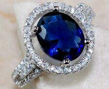 3CT Blue Sapphire & White Topaz 925 Solid Sterling Silver Ring Jewelry Sz 6