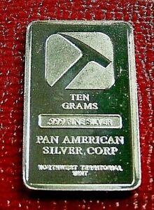Pan American Silver Corp Bar 10 Gram.999 Fine Silver Northwest Territorial Mint
