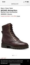 Michael Kors Booties Bastian Lace Up Combat Boots Leather 7.5 New $225 Zip Brown