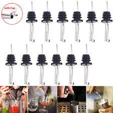 12Pcs Bar Wine Bottle Pour Spout Stopper Free Flow Liquor Spirit Pourer w/Cap