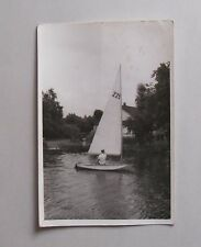 1940s/ Post- WWII BAOR B/W Photograph. Man in a Small Sail Boat. German Canal?