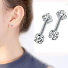 Surgical 316L Stainless Steel Stud Earrings Cubic Zircon Round Men Women 2PCS