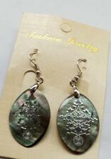 Natural Australian abalone shell deep Leaves earrings