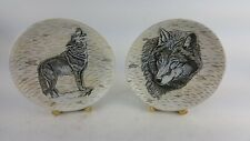 """Pair Of Decorative 8"""" Plates Wolf Wolves On Birch Plate Antler Stand"""